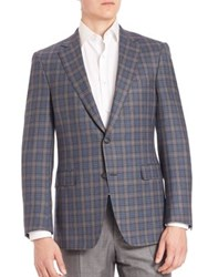 Saks Fifth Avenue Samuelsohn Tartan Wool Plaid Jacket Grey Blue