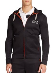 Ea7 Emporio Armani Perforated Zip Front Hoodie Black