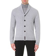 John Smedley Patterson Cashmere And Wool Cardigan Silver