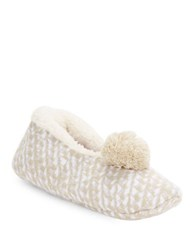 Kensie Sherpa Lined Checked Slippers Oatmeal