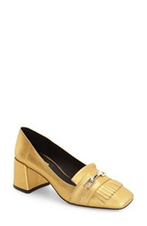 Topshop Women's 'Justify' Block Heel Loafer Pump Gold