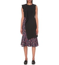 Edit Asymmetric Floral Print Stretch Crepe Dress Black Red Floral