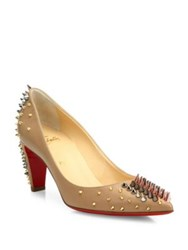 Christian Louboutin Spiked Leather Mid Heel Pumps Nude Multi