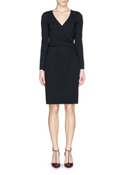 Armani Collezioni Ruche Surplice Neckline Stretch Dress Black