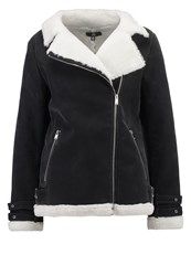 Missguided Faux Leather Jacket Black Cream