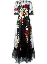 Dolce And Gabbana Embroidered Flower Tulle Gown Black