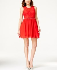 City Triangles Juniors' Lace Bodice Embellished Party Dress