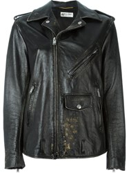 Saint Laurent Distressed Oversize Biker Jacket Black