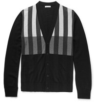 Tomas Maier Toma Triped Merino Wool Cardigan Black