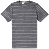 Sunspel Stripe Crew Neck Tee Grey
