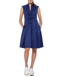 Akris Punto Lace Up Stretch Cotton Dress Dark Blue