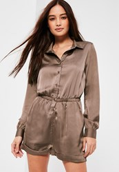 Missguided Brown Satin Shirt Playsuit