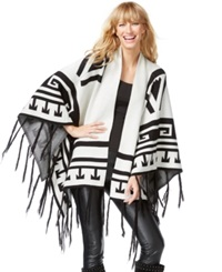Inc International Concepts Oversize Aztec Print Poncho Sweater Only At Macy's Heather Bisque