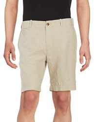 Black Brown Linen Shorts Natural