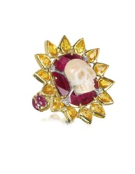 Bernard Delettrez Gold Ruby And Yellow Sapphires Skull Bone Ring