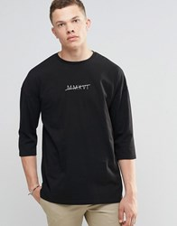 Asos Oversized 3 4 Sleeve T Shirt With Roman Numeral Print Black