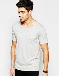 Selected Homme T Shirt With Raw Edge Neck Light Grey Melange