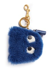 Anya Hindmarch 'Ghost' Shearling Coin Pouch Blue
