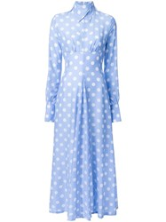 Jenny Fax Polka Dot Long Dress Blue