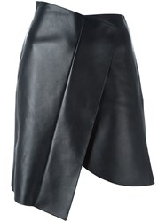 David Koma Asymmetric Leather Skirt Black