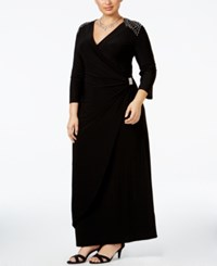 R And M Richards Plus Size Beaded Surplice Gown Black