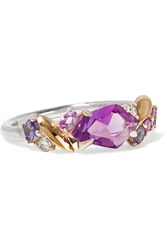 Alexis Bittar Silver Sapphire And Diamond Ring Purple