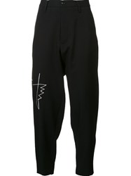 Yohji Yamamoto Embroidered Drop Crotch Trousers Black