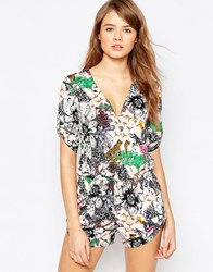 Traffic People Wrap Front Romper In Flamingo Print Pink