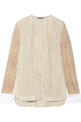 Maiyet Cotton Trimmed Striped Silk Blouse