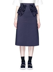 Shushu Tong Ruffle Trim Stripe Twill Skirt Blue