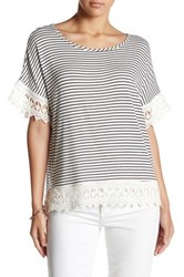 Bobeau Stripe Lace Trim Tee Multi