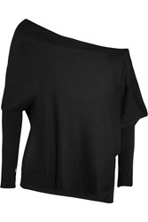 Tom Ford Off The Shoulder Cashmere And Silk Blend Sweater Black