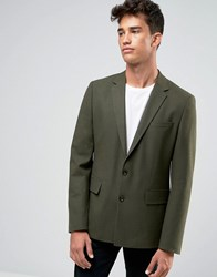 Asos Slim Suit Jacket In Green Green