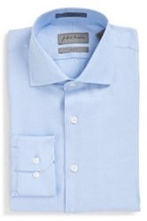 John W. Nordstrom Trim Fit Non Iron Solid Dress Shirt Blue