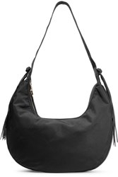 Elizabeth And James Zoe Large Tasseled Leather Trimmed Shell Shoulder Bag Black