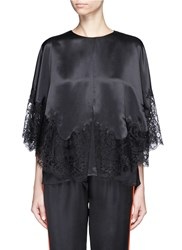 Givenchy Lace Insert Silk Satin Cape Top Black