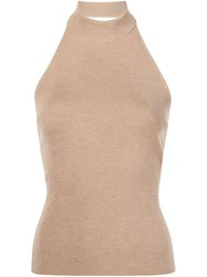 Rosetta Getty Halterneck Top Nude And Neutrals