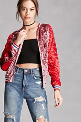 Forever 21 Crushed Velvet Bomber Jacket Pink Red