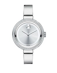 Movado Bold Stainless Steel Diamond Accented Bezel Watch Silver