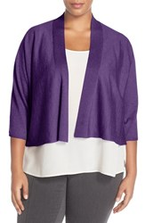 Plus Size Women's Eileen Fisher Kimono Sleeve Crop Cardigan African Violet