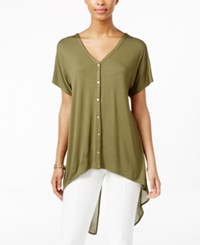 August Silk Short Sleeve Chiffon Back High Low Blouse Winter Moss