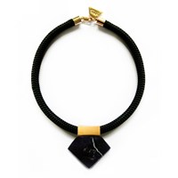Hyes Studio Black Rope Marble Necklace