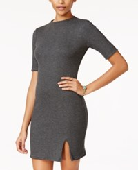 Teeze Me Juniors' Reversible Knit Slit Dress Grey