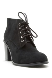 Qupid Varsity Lace Up Heeled Bootie Black