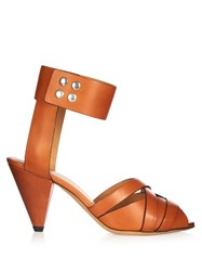 Isabel Marant Mavis Cone Heel Leather Sandals Tan
