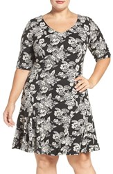 Gabby Skye Plus Size Women's Flounce Hem Floral A Line Dress