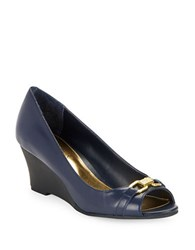 Lauren Ralph Lauren Paula Leather Open Toe Wedges Navy Blue