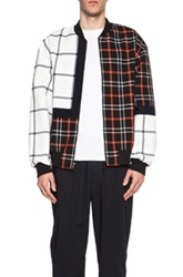 3.1 Phillip Lim Framed Seam Harrington Cotton Jacket In Checkered And Plaid Black Red White
