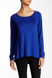 Betsey Johnson Sheer Long Raglan Sleeve Tee Blue