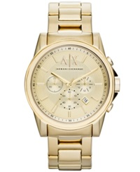 Ax Armani Exchange Watch Men's Chronograph Gold Ion Plated Stainless Steel Bracelet 45Mm Ax2099